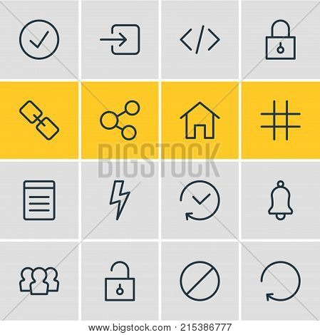 Vector Illustration Of 16 Annex Outline Icons. Editable Set Of Script, Past, Reload And Other Elements.
