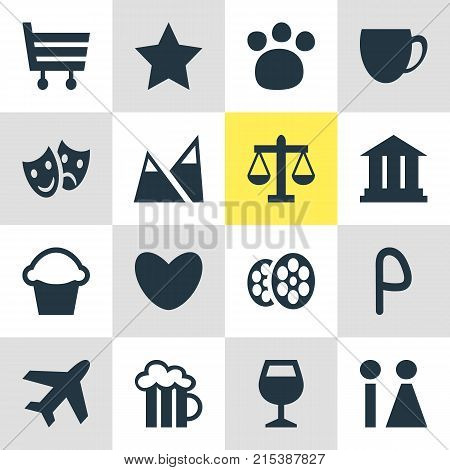 Vector Illustration Of 16 Check-In Icons. Editable Set Of Shopping Cart, Masks, Coffee Shop And Other Elements.