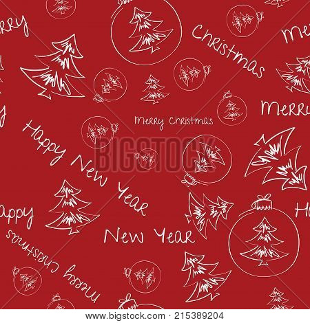 Christmas background with Christmas decorations, great choice for wrapping paper pattern. Hand drawn.