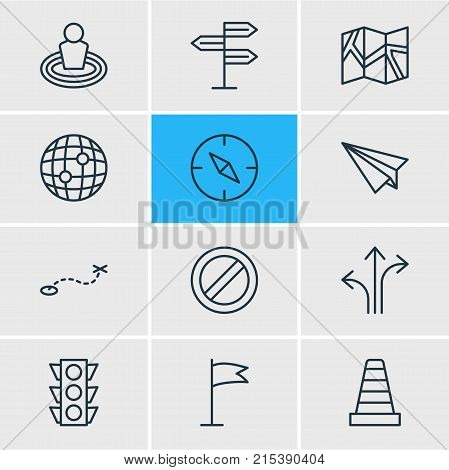 Vector Illustration Of 12 Location Outline Icons. Editable Set Of Signpost, Paper Geography, Path And Other Elements.