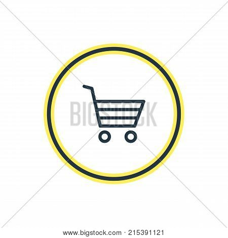 Vector Illustration Of Buying Cart Outline. Beautiful Annex Element Also Can Be Used As Shopping Element.