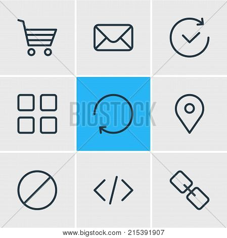 Vector Illustration Of 9 Annex Outline Icons. Editable Set Of Letter, Url, Time And Other Elements.