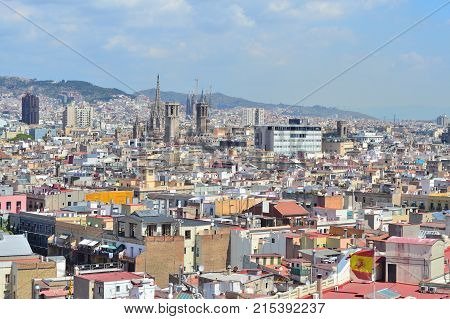 Spain Catalonia. Top-view of Barcelona in a sunny summer day