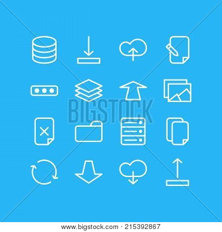 Vector Illustration Of 16 Memory Outline Icons. Editable Set Of Documents, Download, Synchronize And Other Elements.