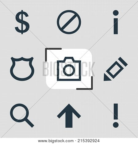 Vector Illustration Of 9 Interface Icons. Editable Set Of Access Denied, Shield, Snapshot And Other Elements.