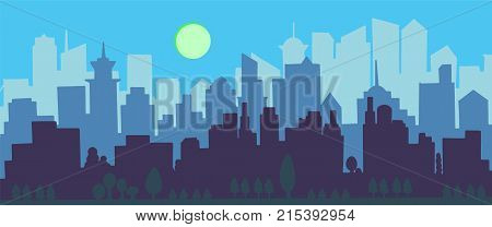 City Skyline Vector Illustration. Urban Landscape. Blue City Silhouette. Cityscape In Flat Style. Mo