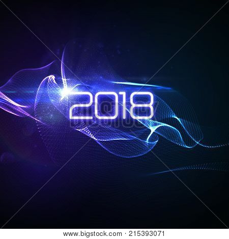 Happy New 2018 Year. Vector holiday illustration of glowing neon 2018 sign with shiny abstract energy wave and sparkles