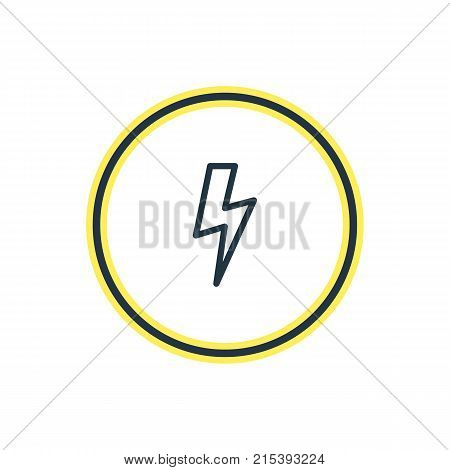 Vector Illustration Of Bolt Outline. Beautiful Annex Element Also Can Be Used As Flash Element.