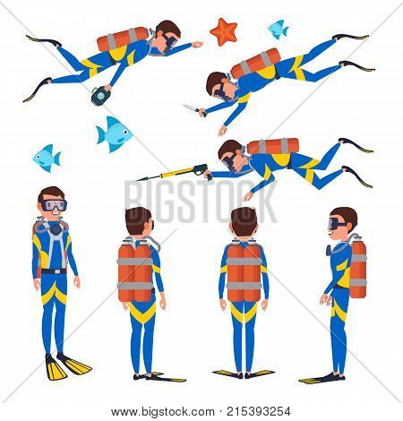Diver Vector. Underwater. Diving At The Bottom Of The Sea. Flat Cartoon Illustration