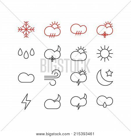 Vector Illustration Of 16 Atmosphere Outline Icons. Editable Set Of Windstorm, Rain, Snow And Other Elements.