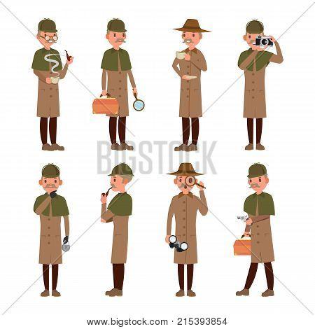 Detective Character Vector. Shamus, Spotter Man. Classic Detective Equipment. Isolated On White Cartoon Illustration