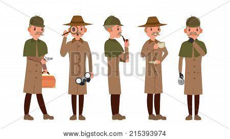 Detective Vector. Professional Vintage Tec, Snoop, Shamus, Spotter Man. Isolated Flat Cartoon Character Illustration