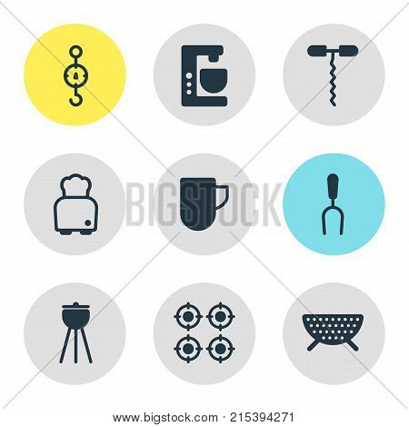 Vector Illustration Of 9 Cooking Icons. Editable Set Of Bread, Steelyard, Tea Cup And Other Elements.