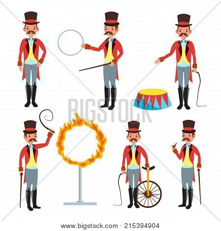 Circus Trainer Vector. Whip In His Hand. Classic Black Hat. Retro Flat Cartoon Illustration