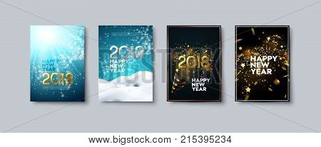 Vector illustration of Happy New Year posters or flyers set. Holiday banners with golden 2018 numbers, party popper, snow, tinsel and confetti. Winter festive decoration. New Year party invitation