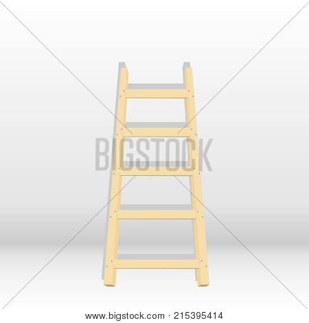 A wooden staircase with a shadow a staircase is attached to the wall. Flat design vector illustration vector.