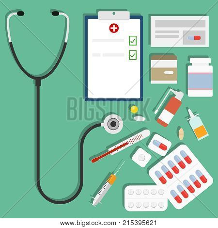 Medications a set of medications pills a syringe a thermometer a stethoscope. Flat design vector illustration vector.