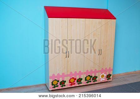 colorful of kid cabinet wooden furniture for kindergarden or kid's room.