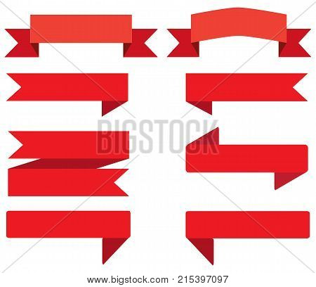 set ribbon banner. red ribbon banner on white background. flat style. ribbon sign.