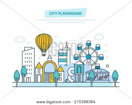 City playground. Public park with children playground. Urban outdoor elements, parks, alleys. Urban landscape with buildings, structures, attractions. Illustration thin line design of vector doodles.