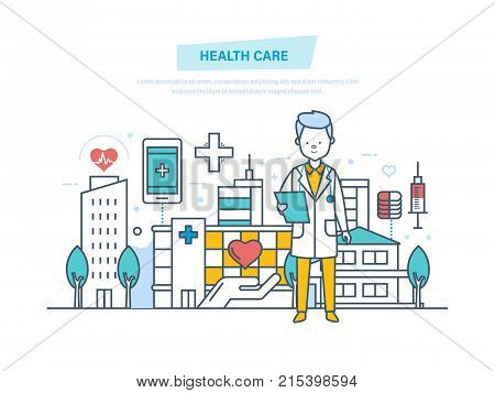 Healthcare and medical help. Medical doctor therapist in dressing gown, doctor working at hospital. Medical institution, hospital, building, clinic. Illustration thin line design of vector doodles.