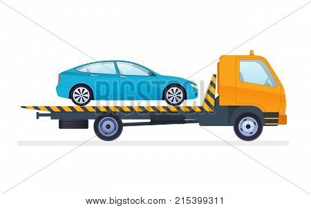 Car repair and service. Mechanic repairs and diagnostics car and equipment. Work in auto repair service. Tow truck is transporting car to service center and to fine-parking lot. Vector illustration.