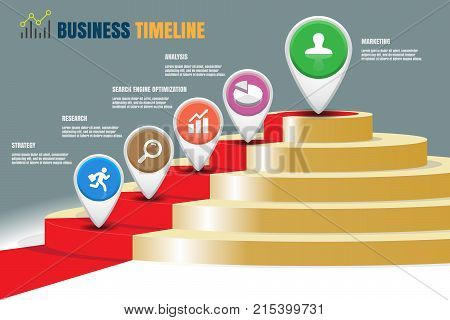 Business staircase timeline infographic designed for template milestone path way to podium. Vector illustration