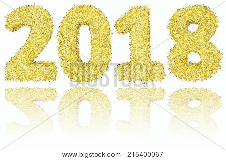 2018 digits composed of golden and silver stripes on glossy white background. High resolution 3D image