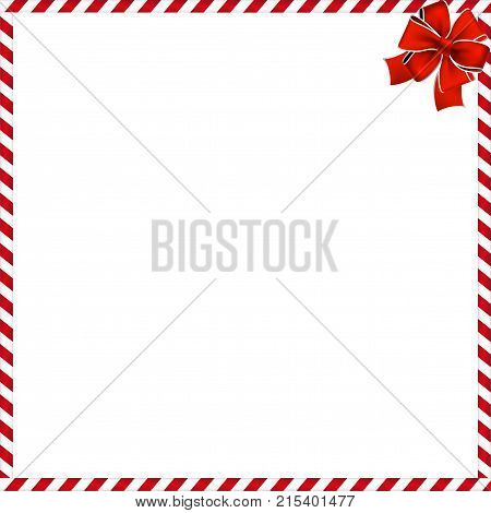 christmas or new year border with red and white lollipop pattern wrapped with red festive ribbon