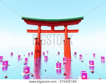 Japanese Gate In Water With Lanterns