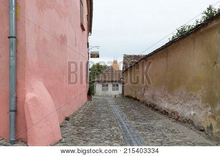 Sighisoara Romania October 08 2017 : School Street in the castle of old city. Sighisoara city in Romania