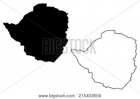 Zimbabwe map vector illustration , scribble sketch Republic of Zimbabwe