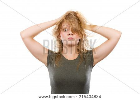 Crazy, Mad Blonde Woman With Messy Hair