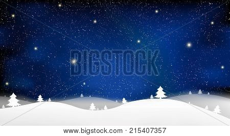 Merry Christmas and New Year of blue snow star light background on blue sky illustration