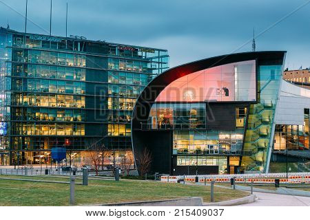 Helsinki, Finland - December 7, 2016: Evening Night View Of Kiasma Contemporary Art Museum. The Museum Exhibits The Contemporary Art Collection Of The Finnish National Gallery Founded In 1990.