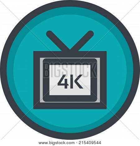 Vector Icon of 4k video quality on button in flat style with outline. Pixel perfect. Player and multimedia icon