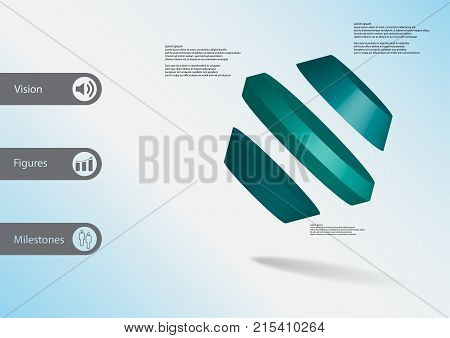 3D Illustration Infographic Template With Rotated Hexagon Divided To Three Parts Askew Arranged