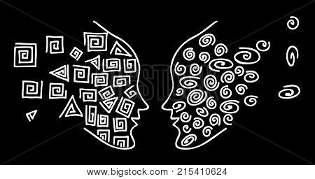 Face-to-face. Drawing a white line to face the silhouette of a human head on a black background. Circles and squares - two opposites. Vector illustration for banner web pattern card. The black thin line man the image of people.