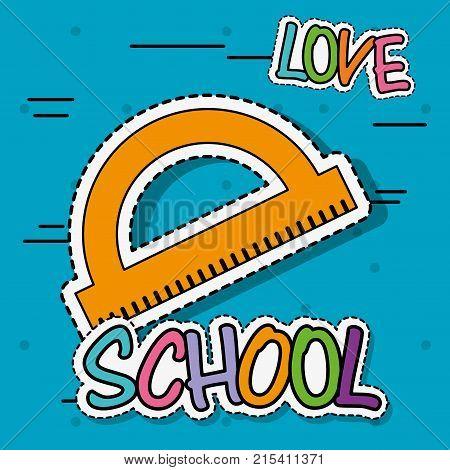mensure ruler education school tool patch sticker vector illustration