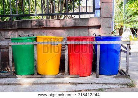 Recycle reuse reduce. Colourful recycle bins. Mother nature