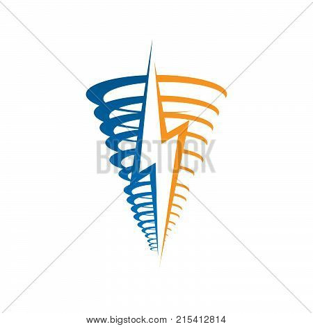 Tornado and storm. Tornado icon illustration isolated on white background sign symbol. Tornado vector logo. Modern vector pictogram for web graphics - stock vector