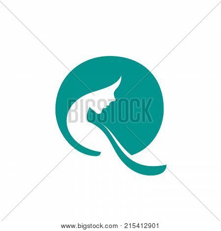 Vector logo for woman salons and shops, a young beautiful woman Stylized with flower, Abstract logo for a beauty salon