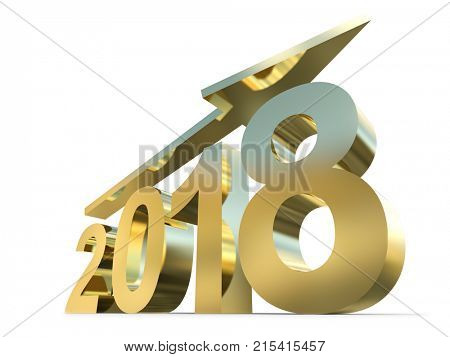 Conceptual 2018 gold or golden year made of shiny yellow metal font isolated on white background. An abstract rich  holiday 3D illustration arrow, metaphor to wealth, prosperity or business growth