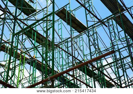 scaffolding Elements with blue sky in construction
