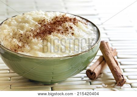Rice pudding with cinnamon.  Traditional Greek rizogalo.