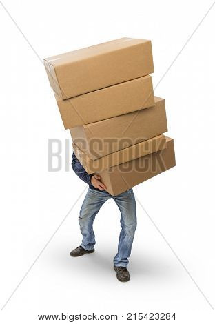 Man carrying heavy cardboard boxes, included clipping path