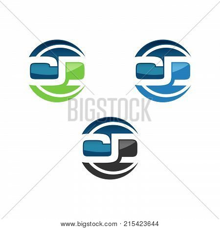 C D Letter in Circle Logo Vector
