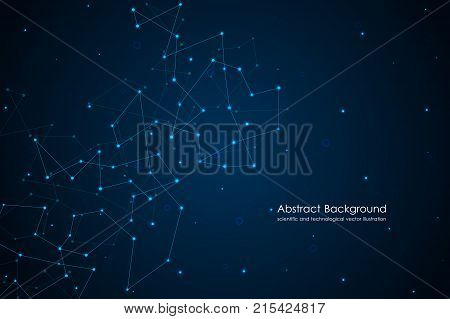 Global network connection with dots and lines. Polygonal linear digital texture, technological and scientific concept, vector illustration