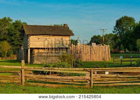 GOODLETTSVILLE TN - AUGUST 22 2017: Mansker's Fort near Nashville is an authentic reproduction of a 1779 forted station typical of early Cumberland settlements. Living history demonstrations are offered.