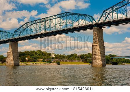 The Walnut Street Bridge in Chattanooga over the Tennessee River restored as a pedestrian walkway